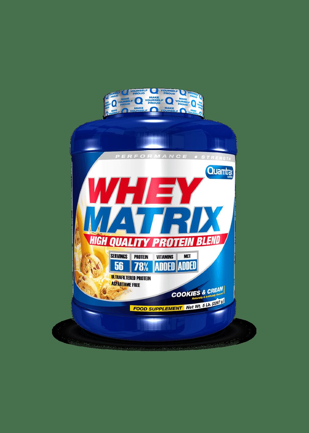 (Quamtrax) Proteina Whey Matrix de 2,267 kg cockie and cream puntfitness
