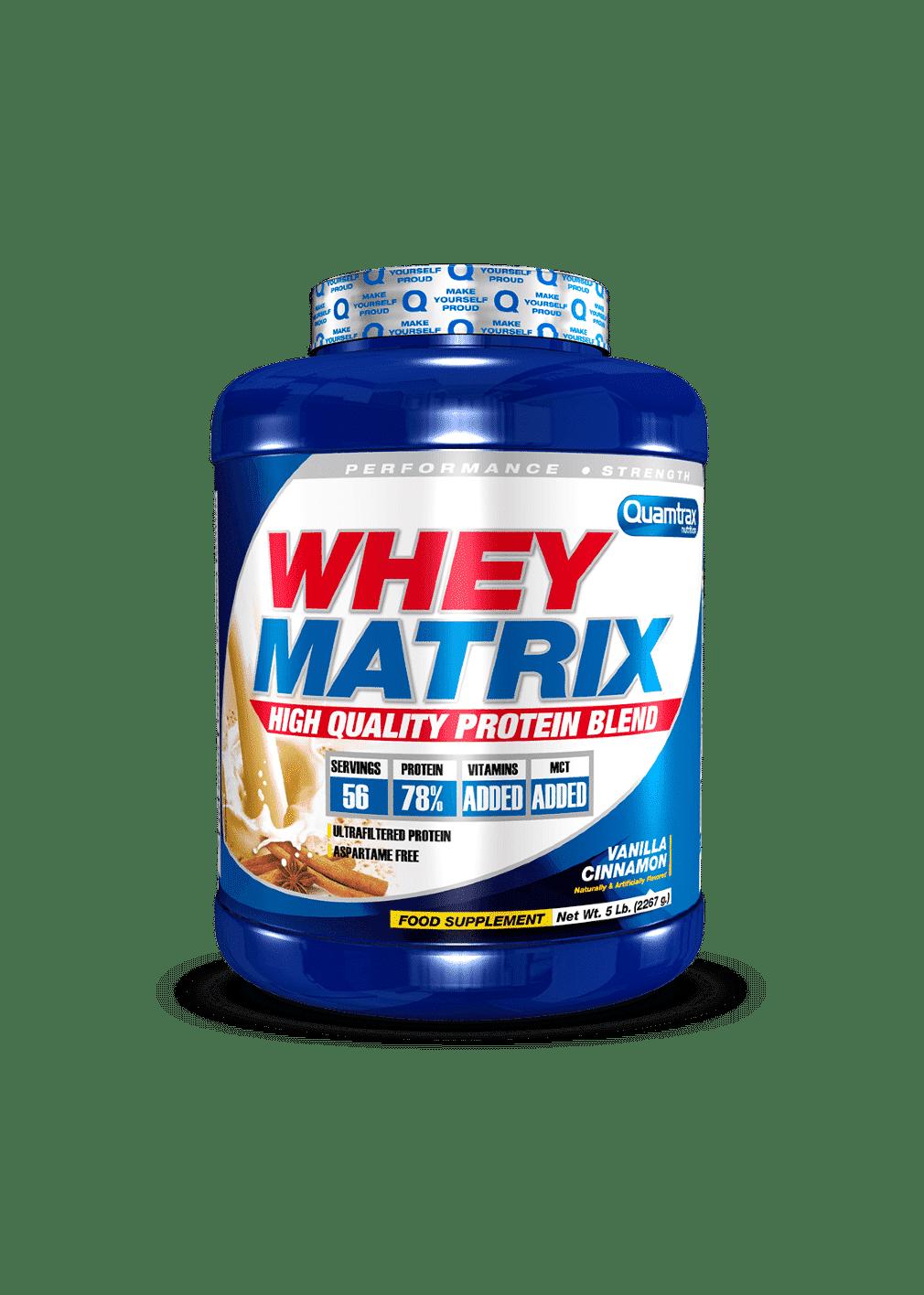 (Quamtrax) Proteina Whey Matrix de 2,267 kg vainilla canelapuntfitness
